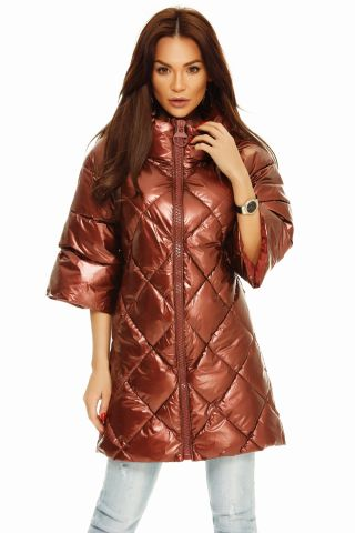 Haina de toamna pentru femei, cu maneca lunga si fermoar, material subtire si model asimetric